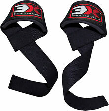 3X Sports Weight Lifting Straps Gym Wrist Wrap Support Bodybuilding Training BLK