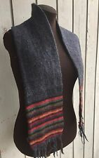 "Alpaca scarf muffler mens' womens' unisex made in Peru 55"" Gray and multi color"