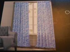 CYNTHIA ROWLEY BLUE FLORAL WINDOW PANEL  DRAPE CURTAIN (K31b)s2a