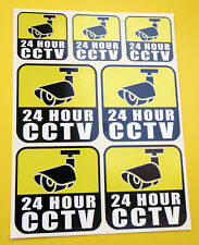 24 Hour CCTV Innenglas Überwachungskamera Aufkleber Abziehbilder Satz von 7