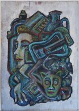 HUILE SUR PANNEAU. Abstrait. Contemporain, outsider art. hpa49