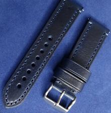 Neuf Bleu Marine Véritable Cuir 22mm Bracelet de Montre Smartwatch Argent Boucle