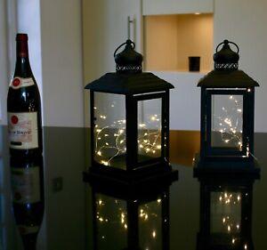 xmas Weddings set of 2 glass and Black metal Lanterns Free 20 LED lights
