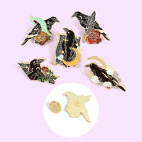 Raven Enamel Pin Crow Brooch Animal Lapel Pin Scarf Collar Badge Corsage G N_N