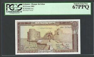 Lebanon 25 Lira 1983 P64c Uncirculated Grade 67