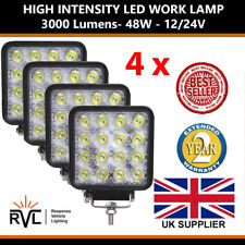 12V 24V 4 Bright Square 48W LED Work Lamp Flood Light Tractor Recovery Truck Van