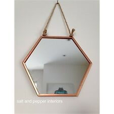 Copper Hexagonal Mirror Rustic String Hanging 17.5cms x 19.5cms - Chrome