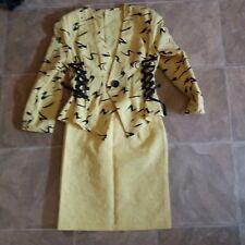 Ensemble femme, veste + jupe, jaune et noire T 38 -40