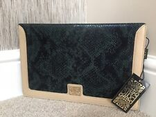 "BiBA Dark Green Snakeskin Print Leather ""denise"" Clutch Bag Retail"