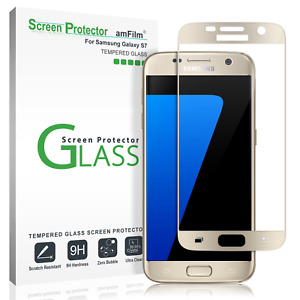 Samsung Galaxy S7 amFilm Full Cover Tempered Glass Screen Protector (Gold)
