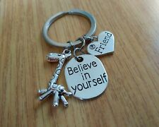 /'Friend/' Heart Charm Keyring with Strong is Beautiful//Giraffe Charm Lovely Gift