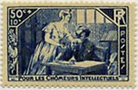 "FRANCE STAMP TIMBRE N° 307 "" CHOMEURS INTELLECTUELS 50c+10c "" NEUF xx TTB"