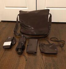 Vintage Linda Dano Brown Crossbody Messenger Laptop Bag w/ Accessories