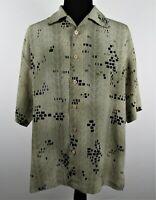 Mens Mench Platinum XL Italy Brown Tan Short Sleeve Button Down Shirt Polyester