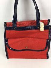 "8.5"" VTG Red Navy Blue Canvas Hand Bag Purse Rockabilly Retro 50s 60s Unbranded"