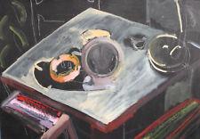 Vintage modernist gouache painting still life