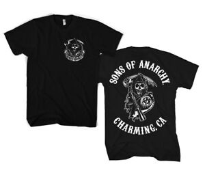 Official Sons Of Anarchy SOA - Full Charming CA Backprint Unisex T-Shirt S-3XL