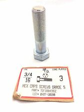 "(2 bolts) 3/4-16 x 3"" Fine Thread Hex Caps Grade 5 Zinc Plated USA made"