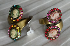 Michal Negrin Double Cameo Ring CHOOSE COLOR Swarovski Crystal NEW! $96