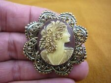 (CS63-30) WOMAN rose roses Ringlet brown oval CAMEO Pin Pendant Jewelry brooch