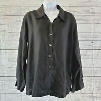 Chicos Womens Top Sz 2 Large Black Linen Long Sleeve Button Front