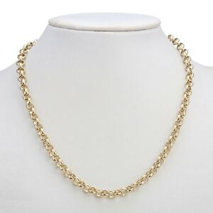 18K Yellow Gold GL Medium Solid Women's Belcher Necklace with Parrot Clasp 45cm