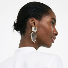 Women Trendy Geometric Acrylic Statement Drop Earrings ZA OL Style Clear Stone