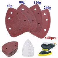 40PCS 140mm Mouse Sander Pads Sanding Sheets Discs Mixed 10 x 60 80 120 240 Grit