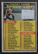 1961-62 HOCKEY CARDS CHECK LIST - Bruins, Black Hawks & Rangers #66 - UNMARKED