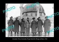 OLD POSTCARD SIZE PHOTO JERUSALEM AUSTRALIAN TROOPS AT THE MOSQUE OF OMAR 1942