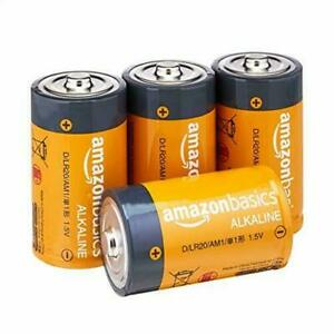 Amazon Basics D Cell Everyday Alkaline Batteries 4 PACK BRAND NEW EXPEDITED SHIP