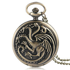 Game of Thrones House Targaryen Fire and Blood Dragon Quartz Mens Pocket Watch