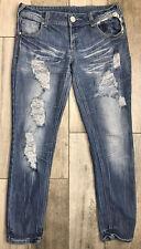 Almost Famous Premium Stretch Jeans Womens Sz 11 Blue Distressed Destroyed Denim