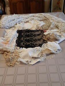 lot de dentelles broderie napperon cache abat jour dessus de lit art populaire