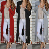 Autumn Women Knitted Long Tassels Sweater Cardigan Long Sleeve Jacket Coat Top H
