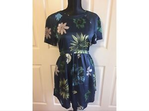 Topshop Tunic Style Dress/ Size 10/ Blue Flower Print/ Empire Line/ Silky Feel