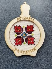 Vintage souvenir Handkerchief, Flower, Fridge Magnet , Hand Made in Bulgaria
