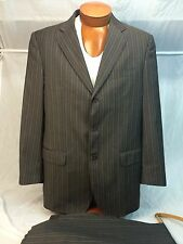 * Alfred Dunhill * London Wool Chocolate Brown w/ Gold Pinstripe Suit 42R MINT!