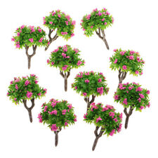 55mm/2.2'' 1:200 Scale 10x Green Tree Rose Red Flower Miniature Model Tree