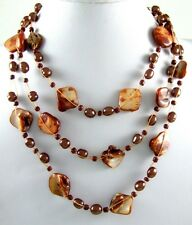"23""CASCADING BROWN MOTHER-OF-PEARL necklace ;BA009"