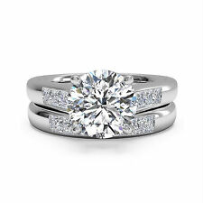 Solitaire 1.30 Ct Natural Diamond Ring Sets Solid 14K Gold Size 4 5 6 New Set