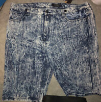 Men's Thrill  Bleached Out Denim Shorts size 48 Distressed Plus