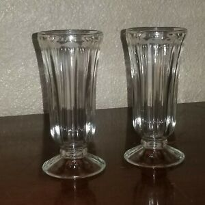 """Vintage Anchor Hocking Fountain Milk Shake Glasses Clear 5"""""""