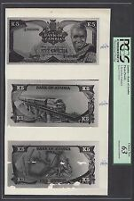 Zambia Face & Back & Back 5 Kwacha Undated Photographic Proof Uncirculated