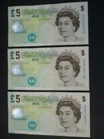 THREE SALMON UNCIRCULATED CONSECUTIVE ELIZABETH FRY £5 NOTES,  DUGGLEBY B407.