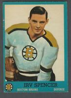 1962-63 Topps Boston Bruins Hockey Card #17 Irv Spencer