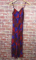 Volcom sz S Dress Strappy Maxi Red Blue Paisley Casual Beachy