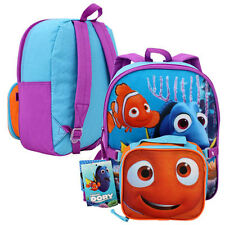 "Disney Finding Dory Nemo 12"" Backpack w Lunch Bag Utility Case Toddler Preschool"