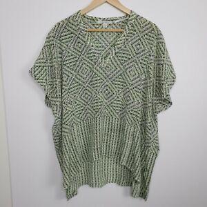 Trenery Women's Silk Blouse Short Sleeve Green Geometric Pattern Size XL