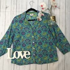 Anoki for East Size 16 blue floral patterned button up long sleeve shirt GC